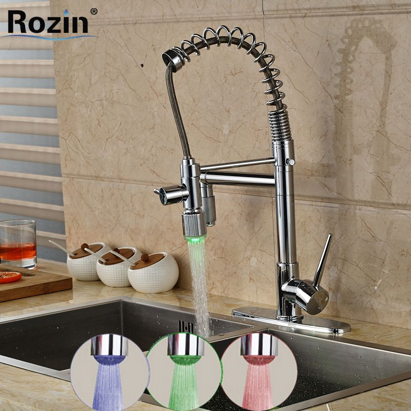Wholesale and Retail Double Swivel Spout LED Light Spring Kitchen ...