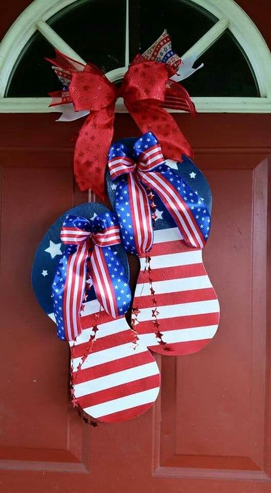 Patriotic Flip Flop Door Hanger Made By Me Find My Store On Etsy Lcbj Patriotic Door Hanger