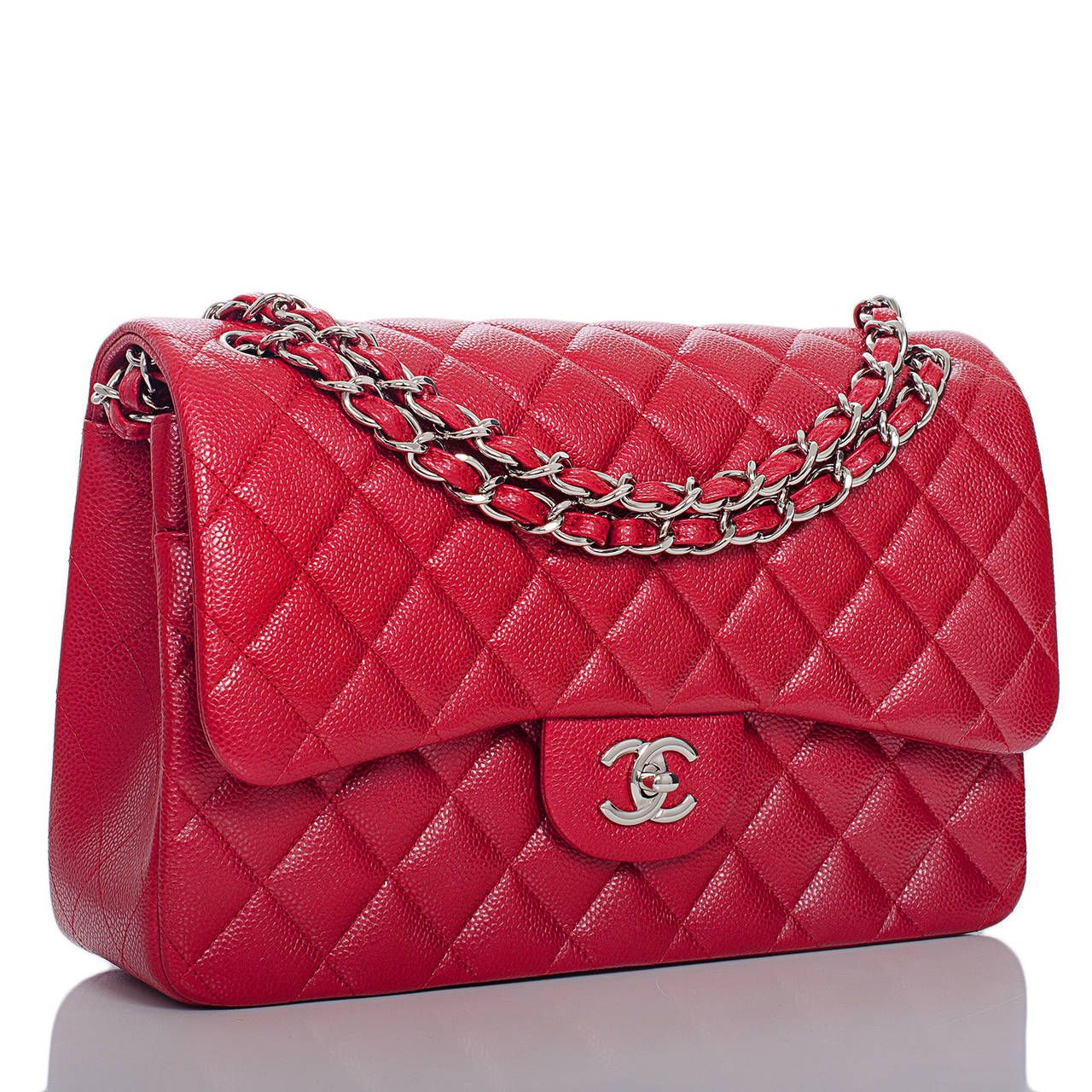 d3905cc4448c Chanel Dark Pink Quilted Caviar Jumbo Classic Double Flap Bag
