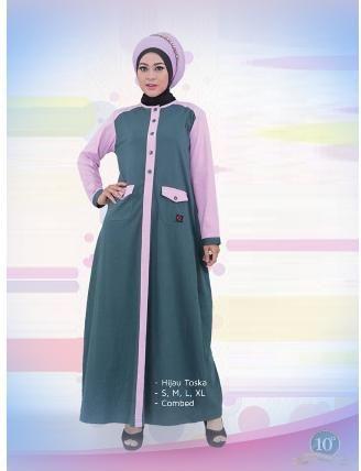 Beli Baju Dress Wanita Gamis Qirani Dewasa 190 Hijau Toska Dari