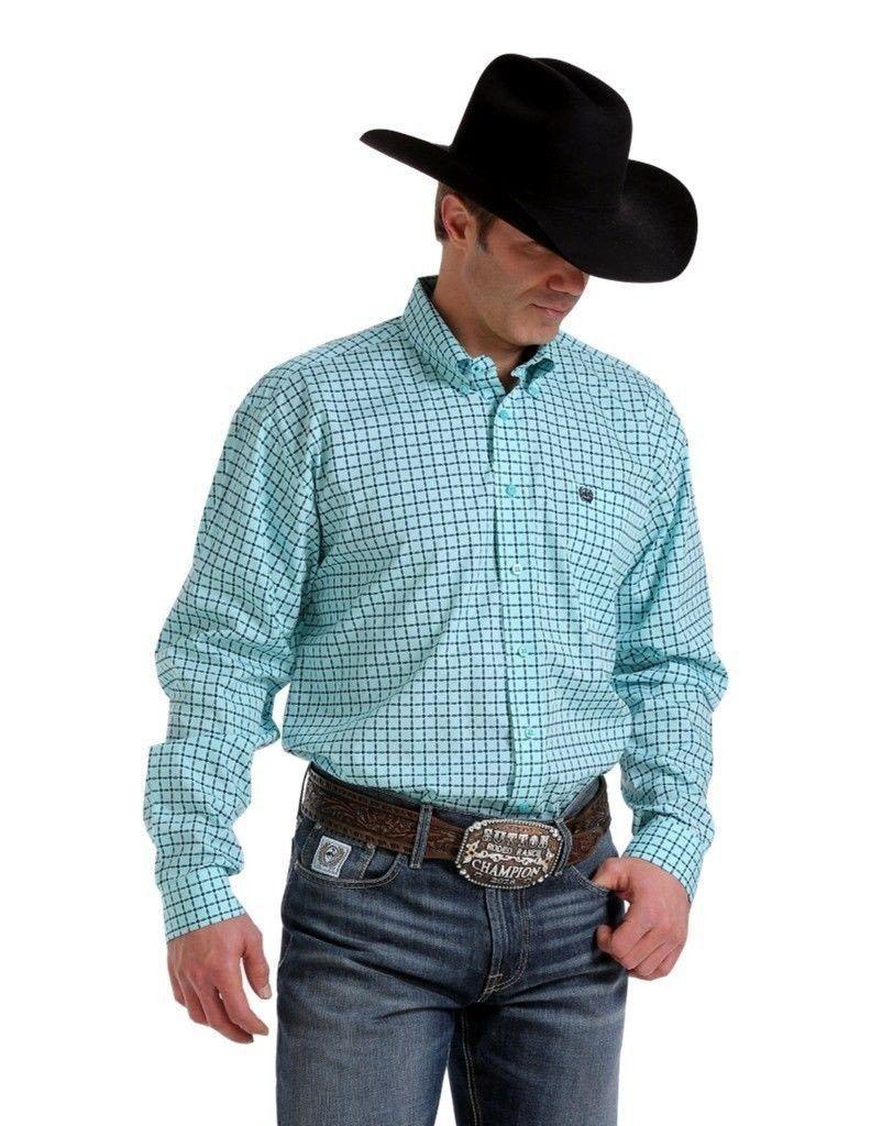 Green dress shirt mens Cinch Menus Turquoise Button Down Shirt MTW  Products
