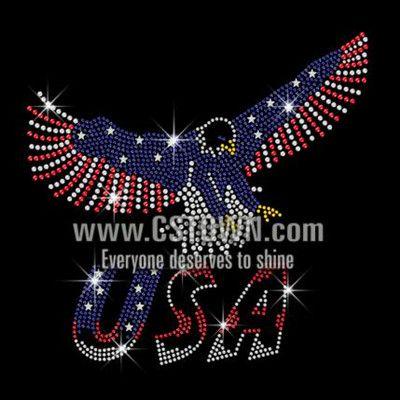 Flying Eagle Bling USA Iron on Rhinestone Transfer Decal
