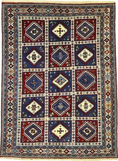 Hand-knotted wool Yalameh area rug