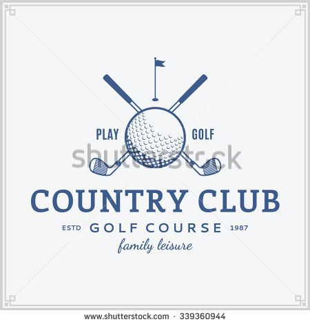 Golf Country Club Logo Template Label With Sample Text Icon For
