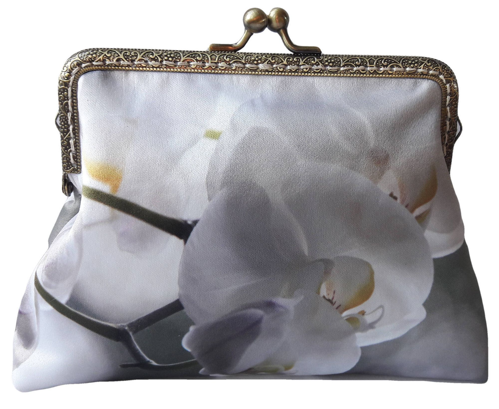 White orchid satin antique bronze sewin clasp frame clasp clutch