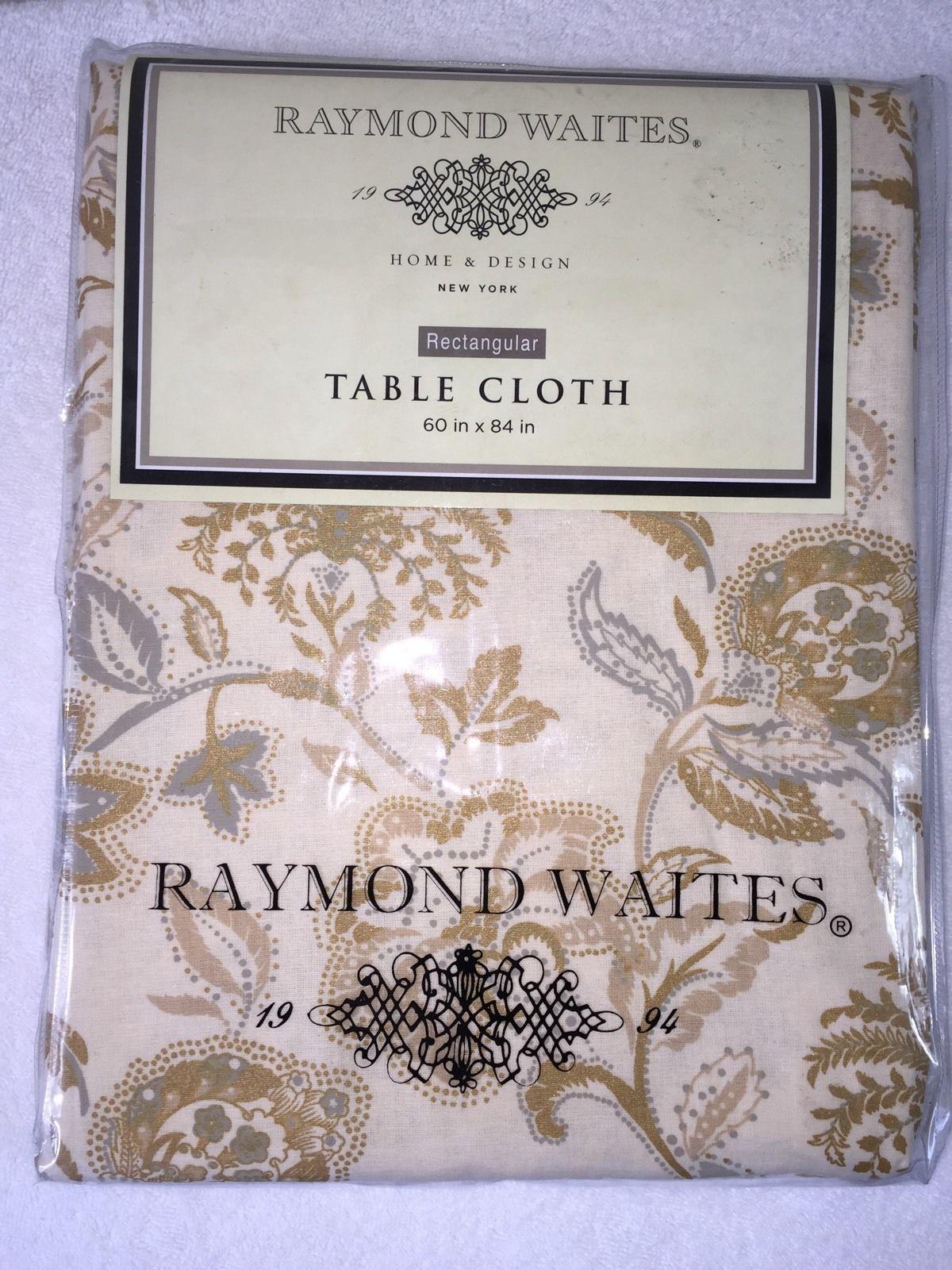 Superbe Raymond Waites Tablecloth 60 X 84 Oblong Cream Gold Gray