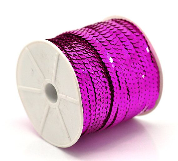 10 yards 30 feet HOT PINK METALLIC Color Sequins by SmartParts, $1.99