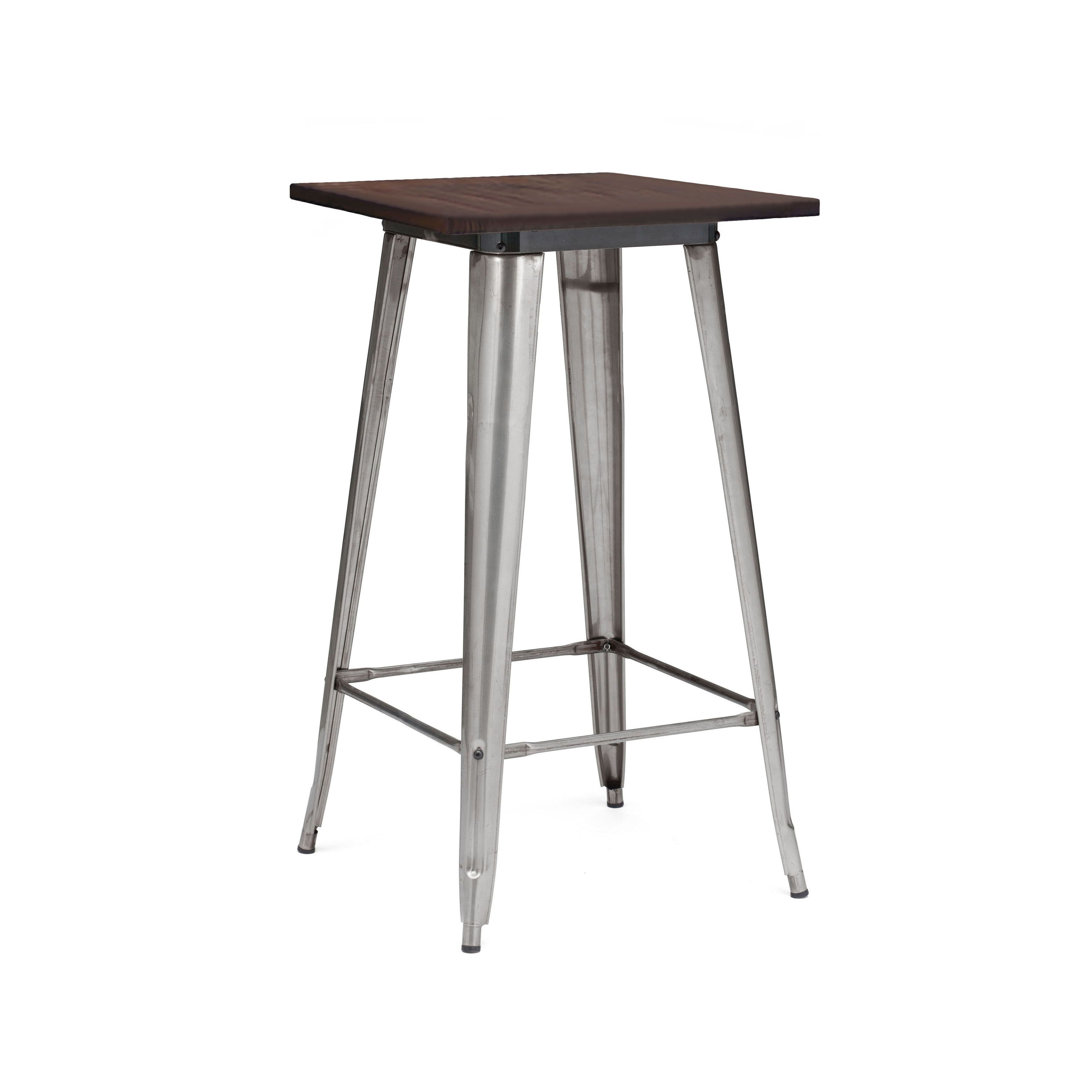 Amalfi Clear Gun Wood Top Steel Bar Table