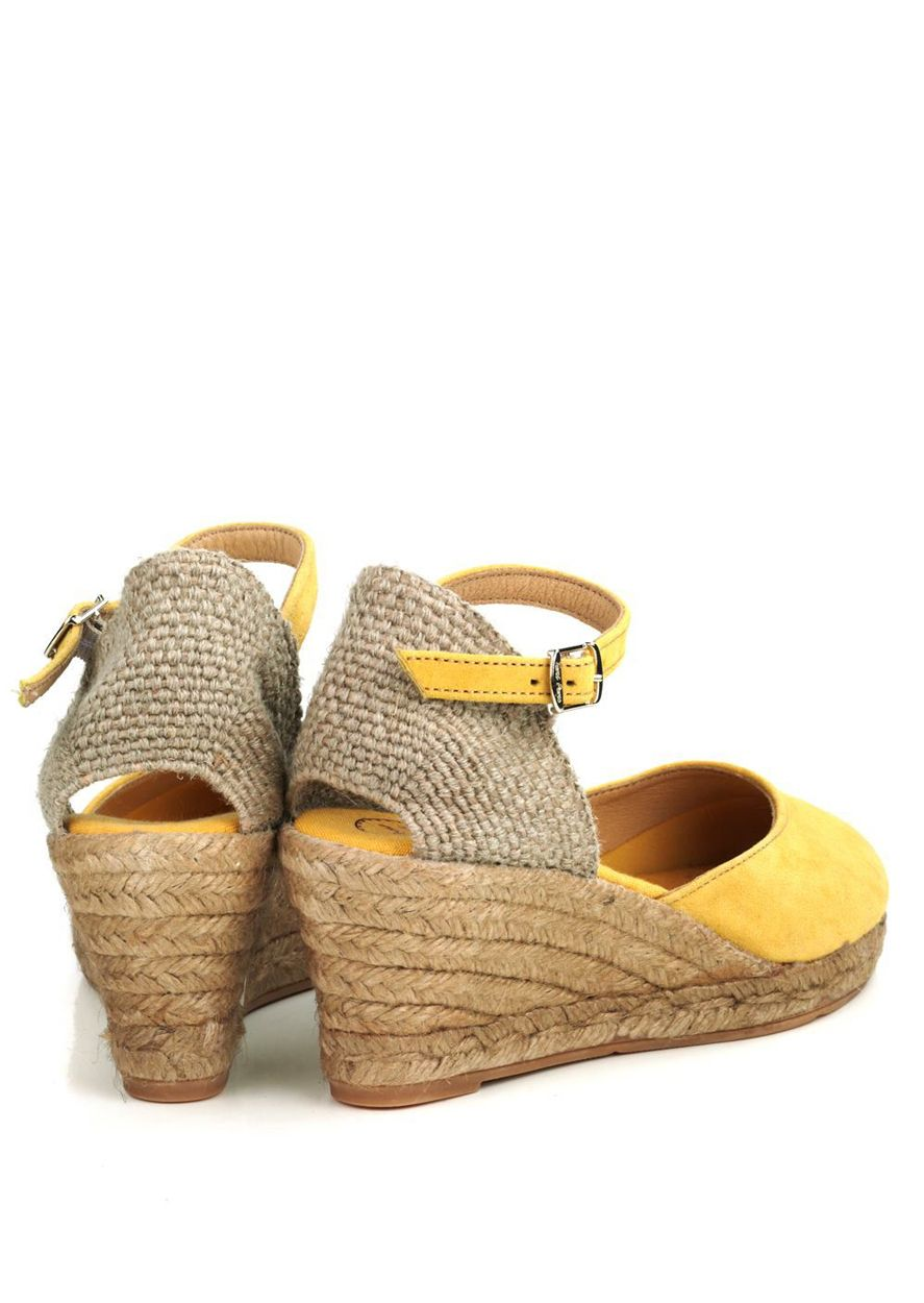 5bf5b47542 Toni Pons Lloret yellow suede wedge espadrilles with ankle strap and jute  rope platform base and rubber outsole.