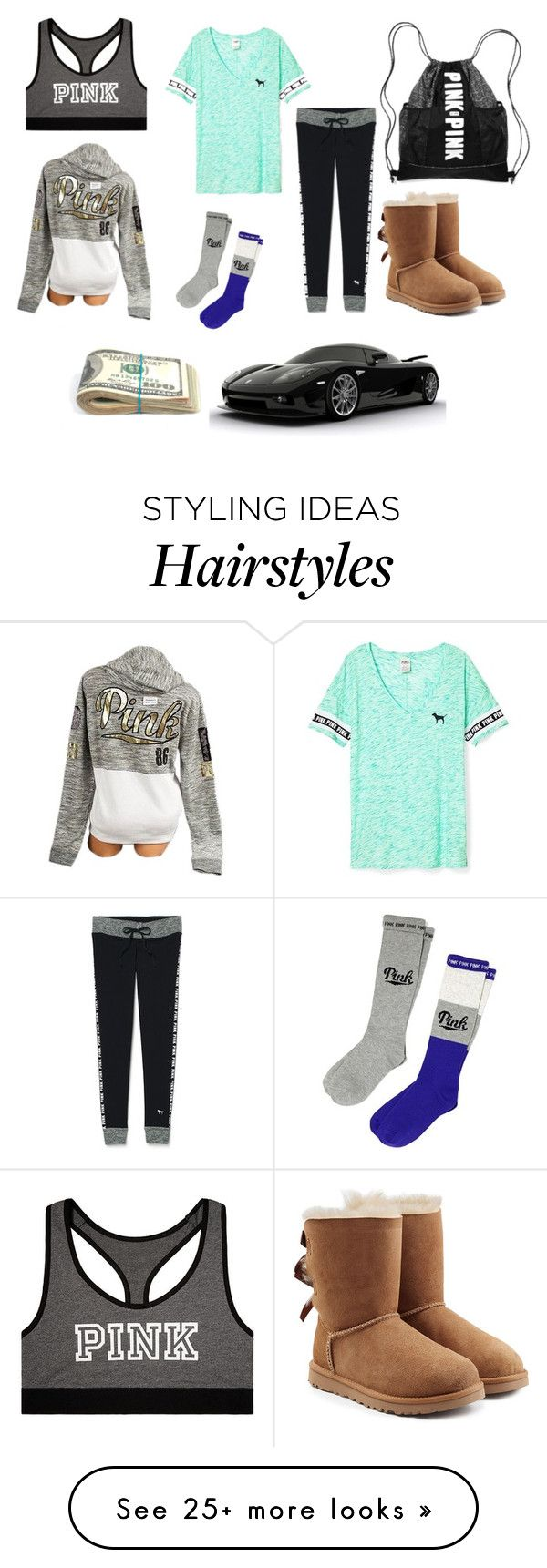 """""""Going to get a tattoo,hair dye, and piercings with Maddy"""" by rhino1021 on Polyvore featuring Victoria's Secret and UGG Australia"""