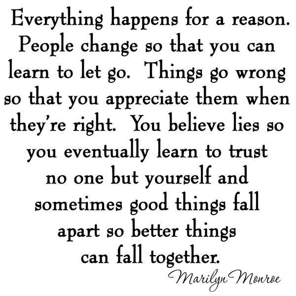 VWAQ Everything Happens for a Reason Marilyn Monroe Wall Decal - VWAQ Vinyl Wall Art Quotes and Prints