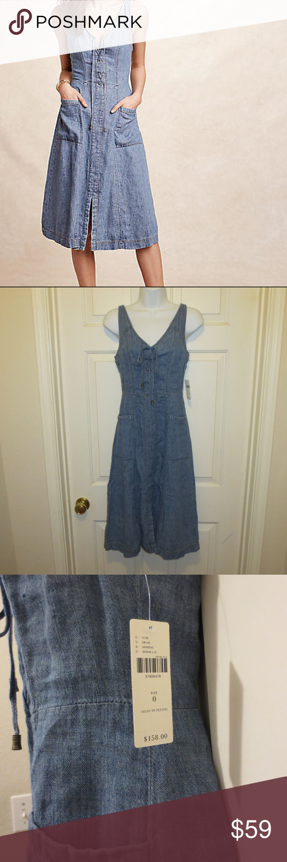"Anthropologie Dress Lace Up Denim Lk Atoll XS New Brand: Anthropologie Holding Horses Condition: NEW with Tag!  Lace up under v- neck.  Linen, cotton A-line silhouette Front pockets Back zip with front lace-up detail  Size 0 - length 42"" Anthropologie Dresses Midi"