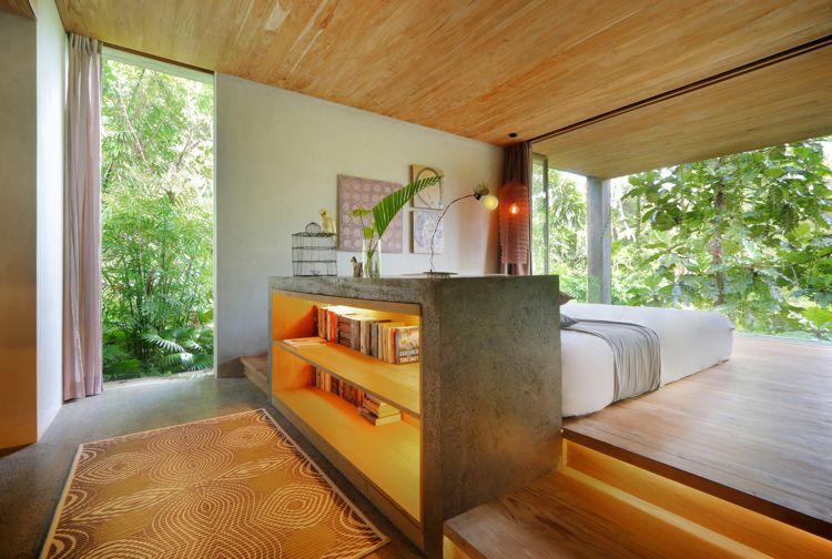 asiatischer wohnstil schlafzimmer raumteiler regal Architektur