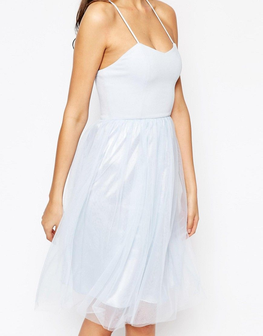 Image of true decadence tall cami strap midi prom dress with tulle