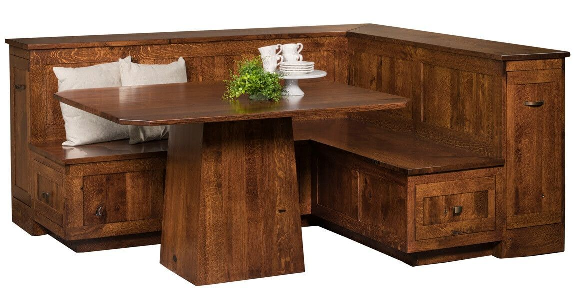 Minnie Breakfast Nook With Storage Countryside Amish Furniture Dining Table In Kitchen Breakfast Nook With Storage Oak Dining Furniture