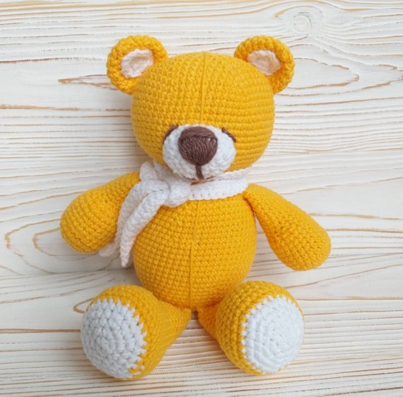 Crochet Bear Toy Amigurumi Knitted Toy Stuffed bear toy Knitted bear Baby gift soft toy Ready to ship. #beartoy