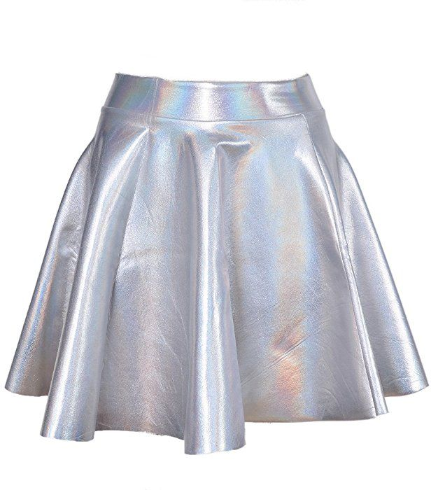 9abe4287d Lychee Holographic Hologram Shiny Metallic Silver Flared Pleated ...