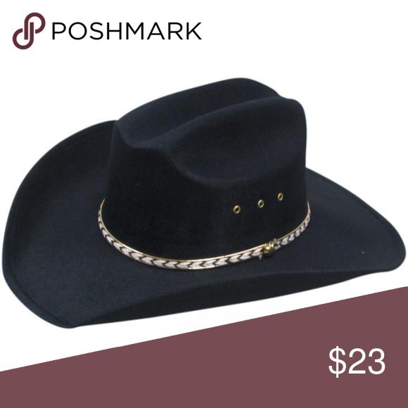 Nwot Black Felt Cowboy Cowgirl Unisex Hat Unisex Hat Pink Cowboy Hat Black Felt