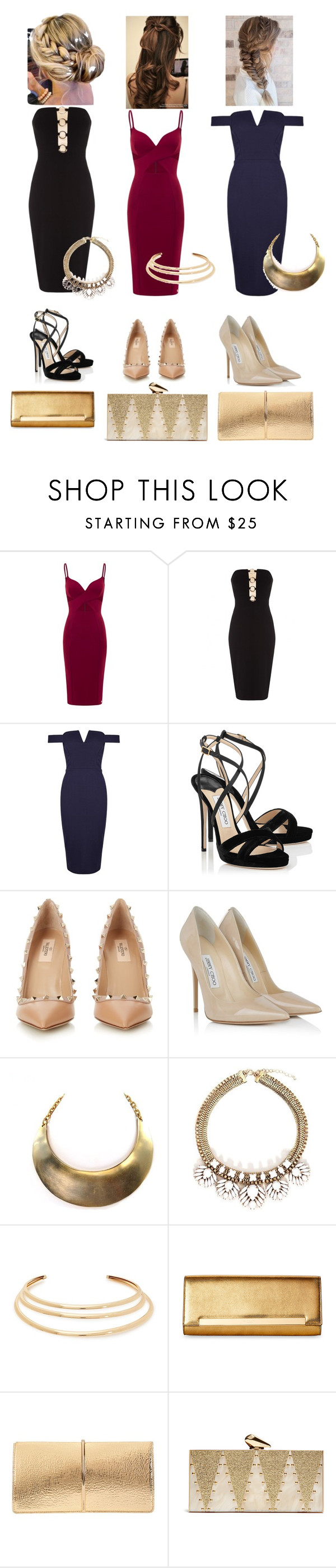"""formal dinner"" by cid-paradero on Polyvore featuring Jimmy Choo, Valentino, Kenneth Jay Lane, Yves Saint Laurent, Nina Ricci and KOTUR"