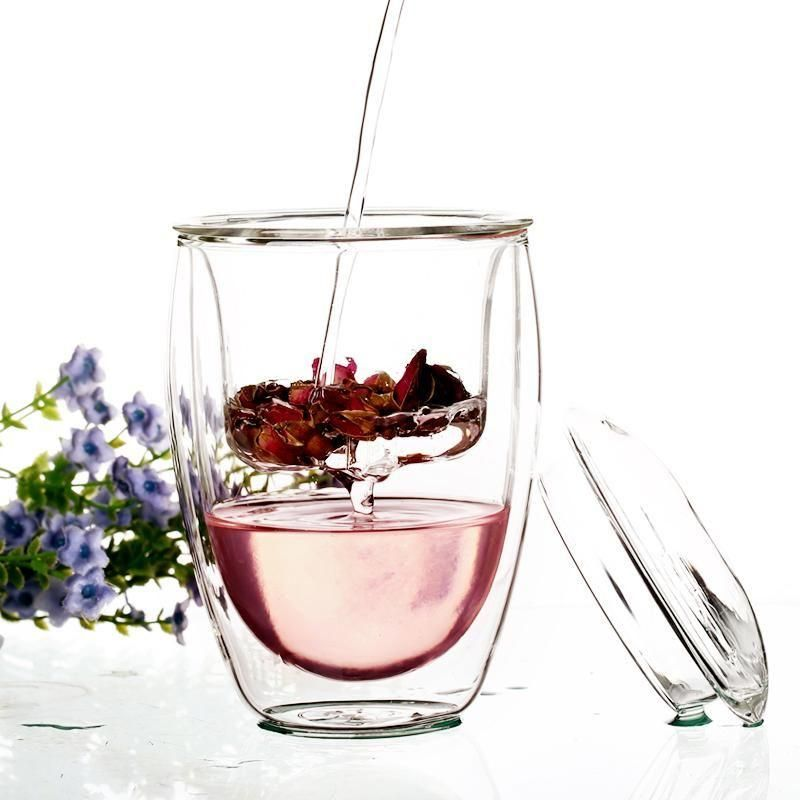 Clear Double Layer Glass Tea Cups With Filter Lid Glass Glass Tea