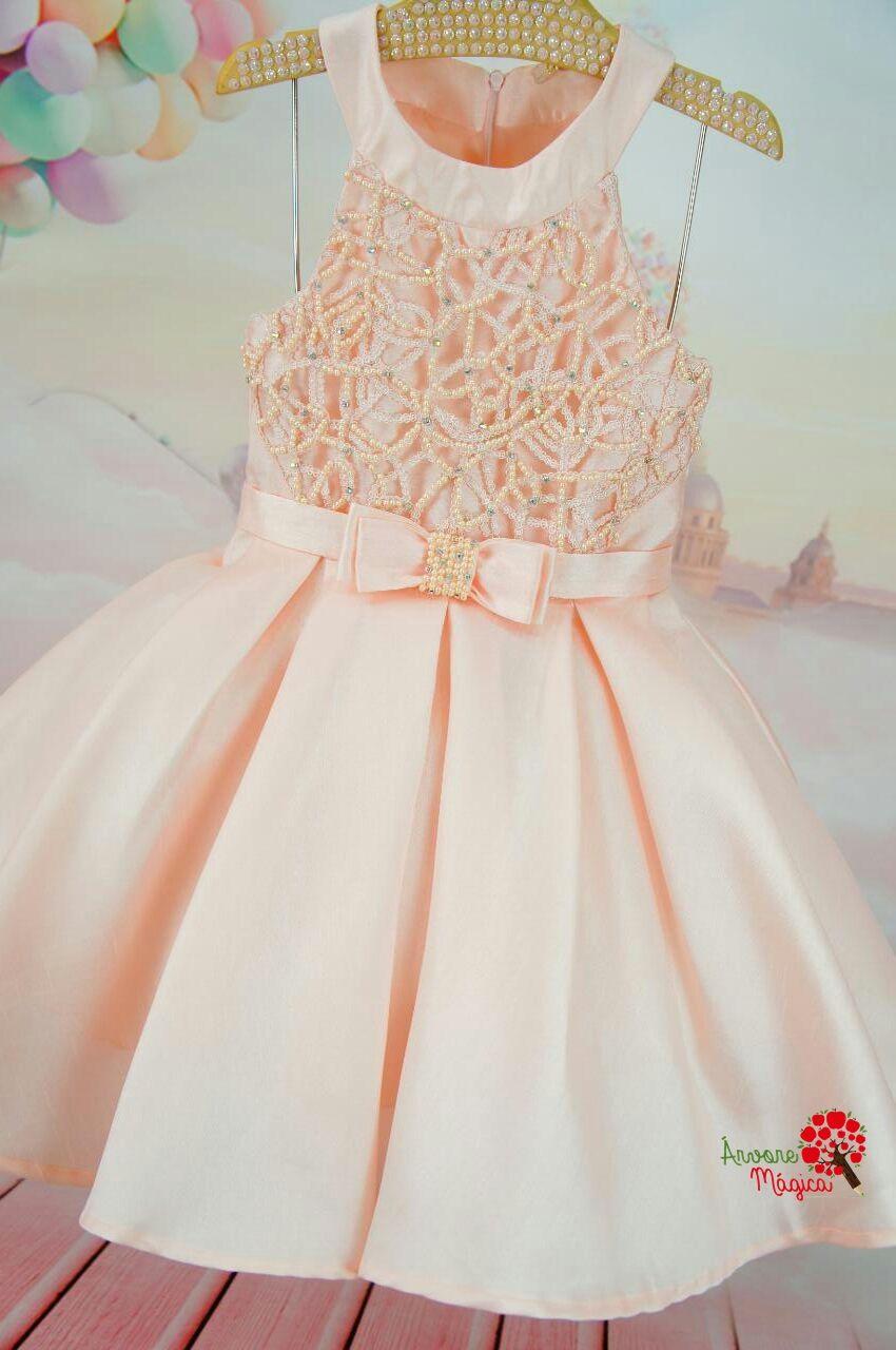 Vestido infantil de festa rosê bordado petit cherie kids vestidos