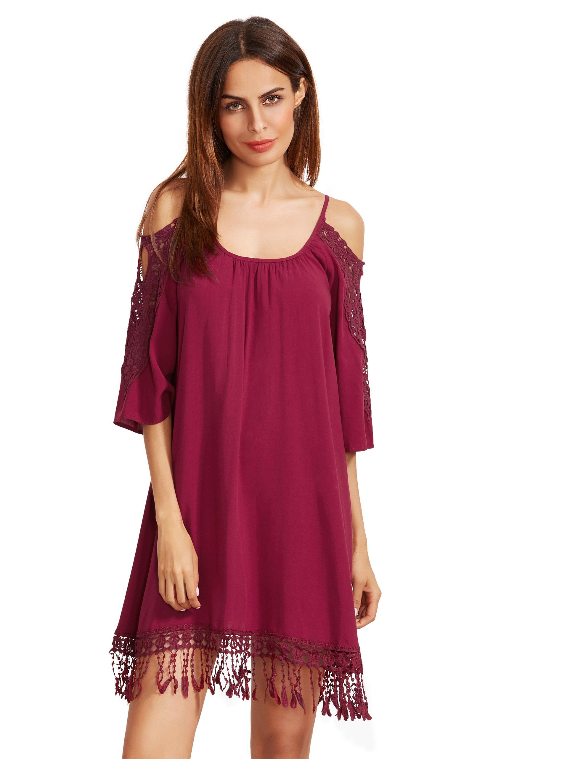 0bd96952f342 Milumia Womens Summer Cold Shoulder Crochet Lace Sleeve Loose Beach Dress  Burgundy L     Read more at the image link. (This is an affiliate link)