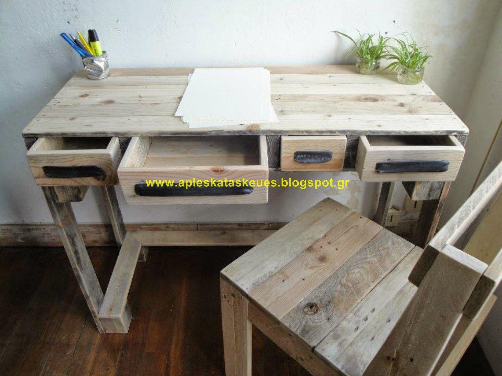24c810b0c310 Απλές κατασκευές από παλέτες   Simple Pallet Construction  Γραφεία από  παλέτες (pallet desk)