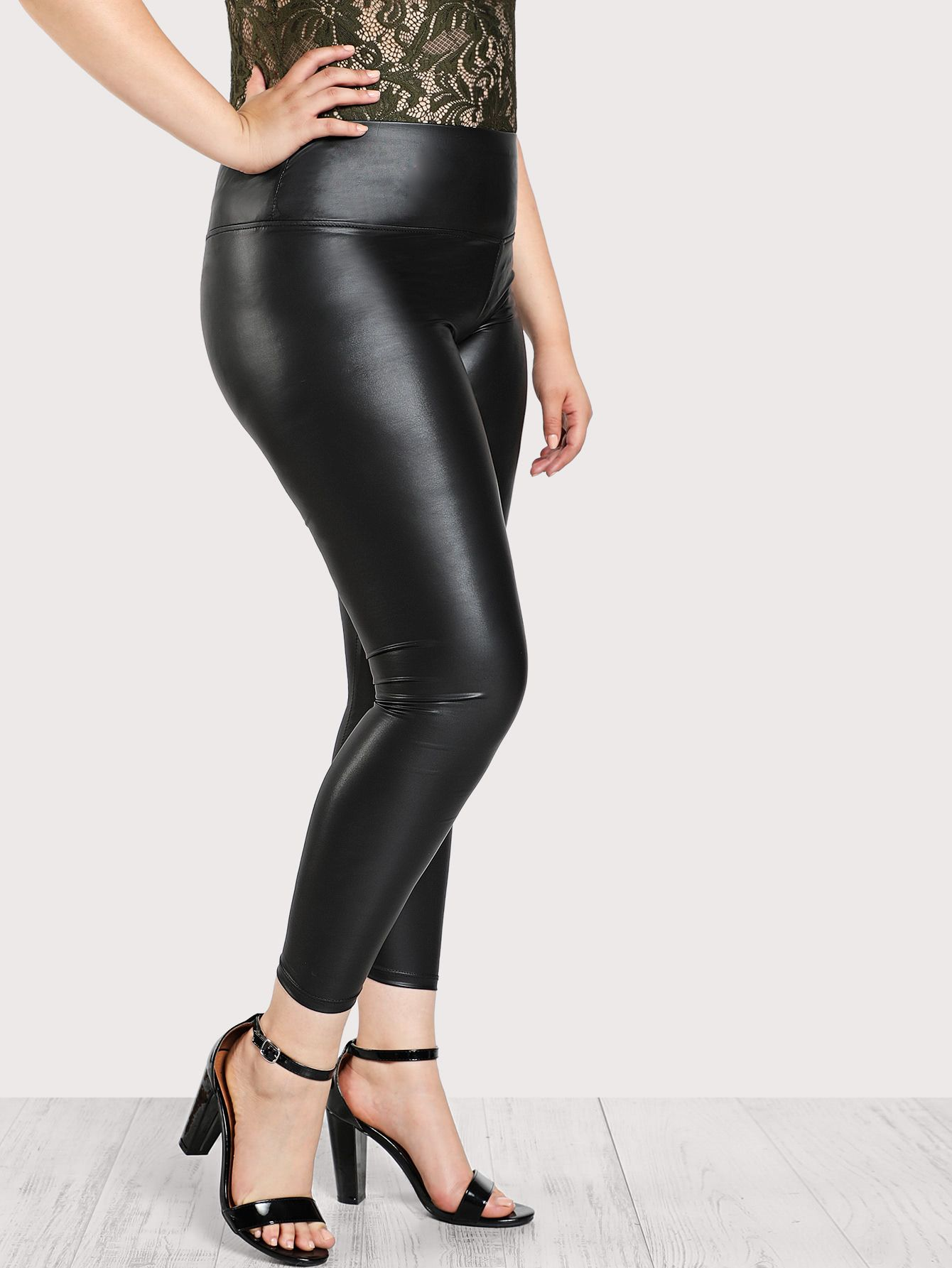 bffbda5a71 Wide Waistband Coated Leggings -SheIn(Sheinside) | dress well ...