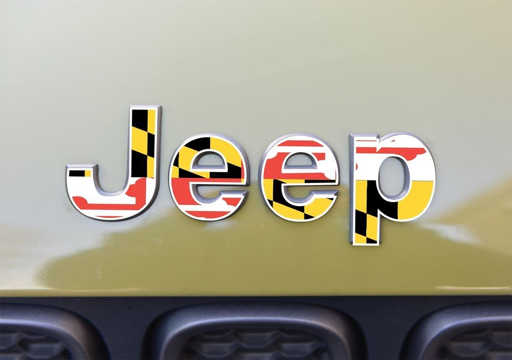 Jeep Renegade Emblem Maryland Flag Decal Sticker 3m Cv3 Usa Amp X21 Amp X21 Amp X21 3m Amp Trade Cv3 100 Amp X25 Mad Jeep Renegade Jeep Maryland Flag