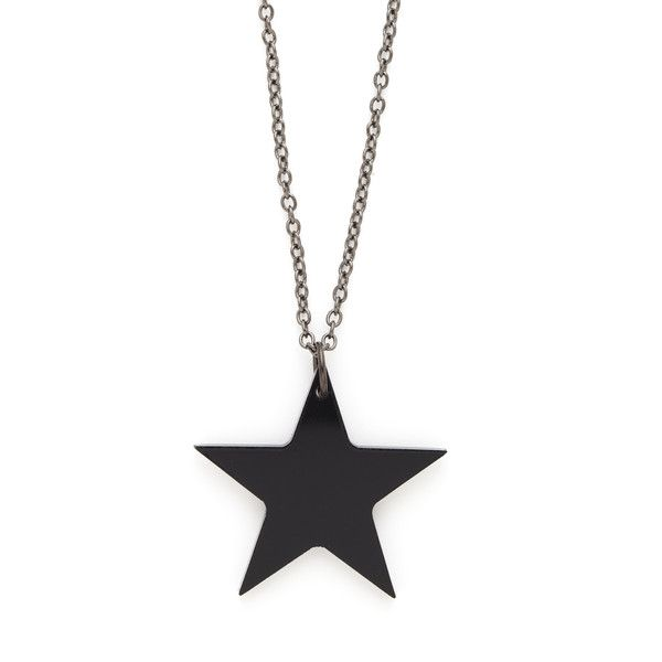 Alex And Chloe Simple Star Necklace (€18) ❤ liked on Polyvore featuring jewelry, necklaces, accessories, colares, collier, black chain necklace, black tourmaline pendant, star jewelry, black pendant necklace and star pendant necklace