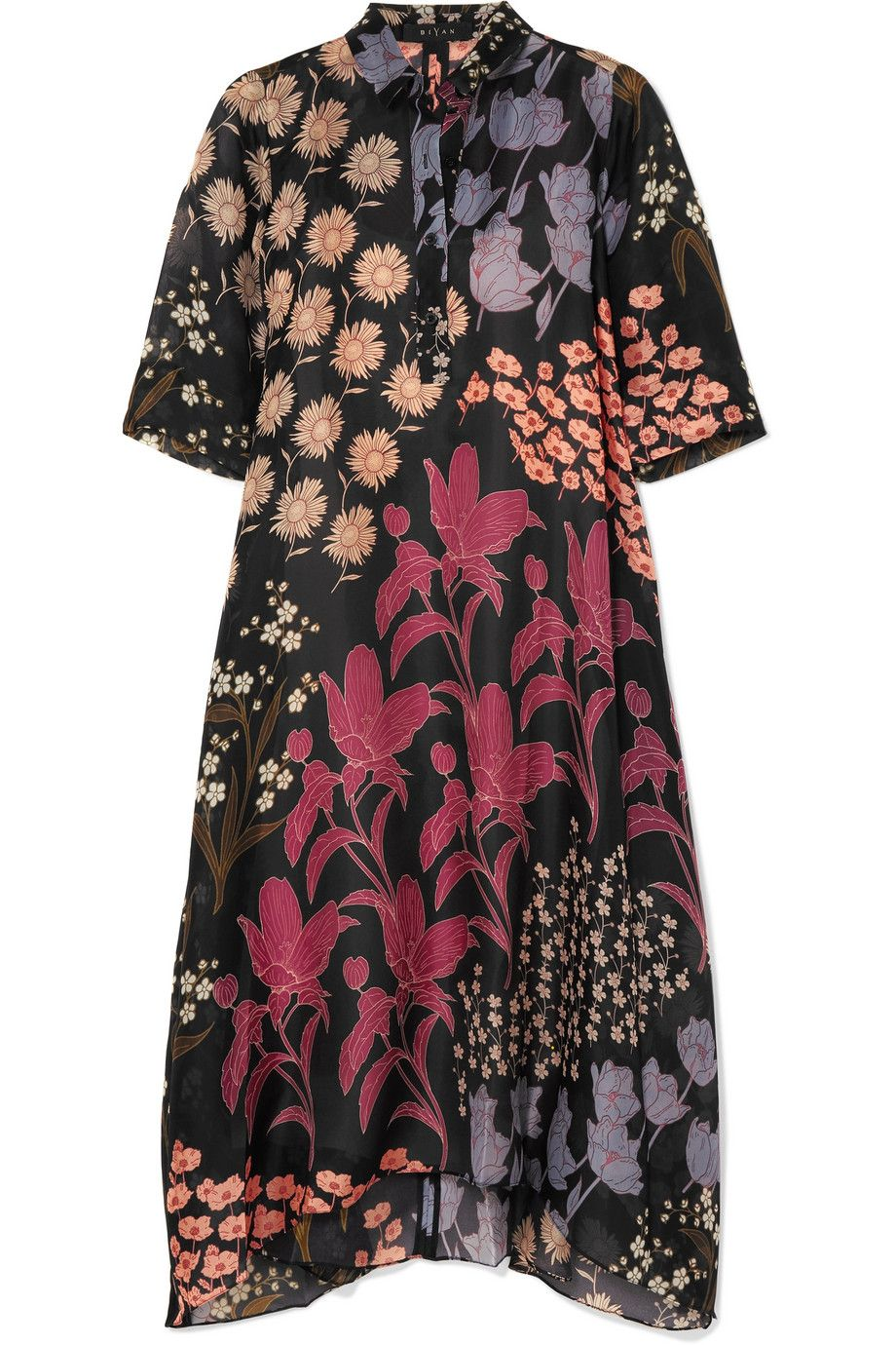 Cheap Online Shop Allie Floral-print Silk-organza Midi Dress - Black Biyan Limited Sale Shop Outlet Low Price Outlet Get To Buy o4CWIzphM