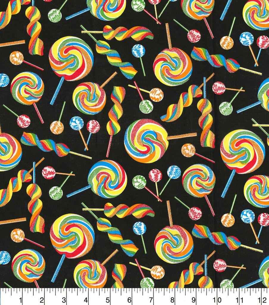Novelty Cotton Fabric Rainbow Glitter Candies on Black