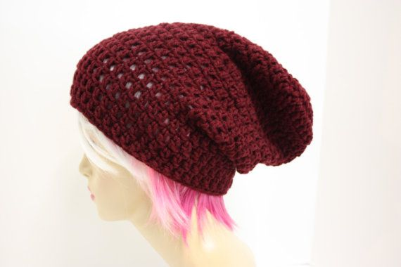 Maroon Slouch Beanie Slouchy Beanie Oversized by Sweetbriers, $20.00 ...