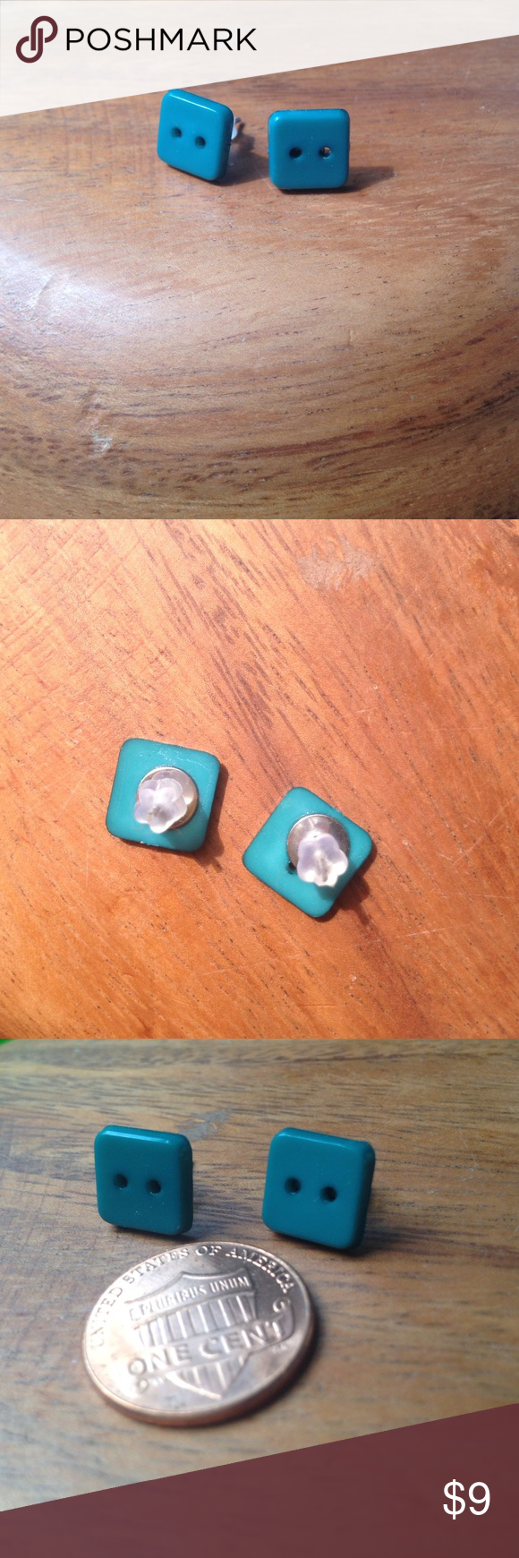 Teal square button earnings, like new Cute square teal earrings that are basically new! From a craft fair but I don't remember the artist who made them. Penny for scale. Jewelry Earrings