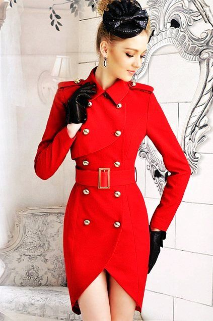 Red Fitted Ladies Winter Coats - Cute Red Ladies Winter Coats ...