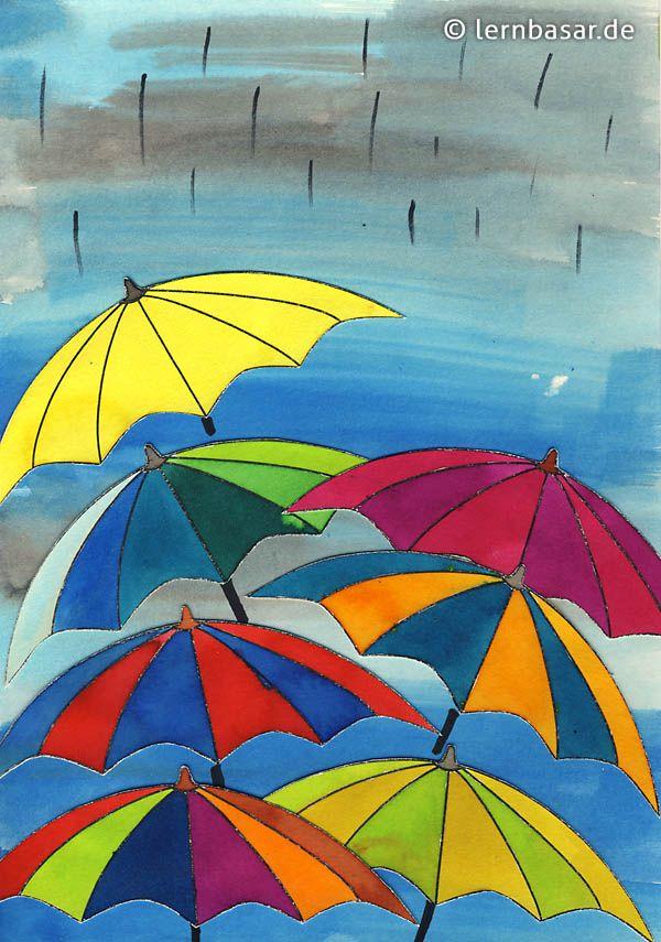 schmuddelwetter farbenfrohe regenschirmparade wasserfarben pinterest kunstunterricht. Black Bedroom Furniture Sets. Home Design Ideas