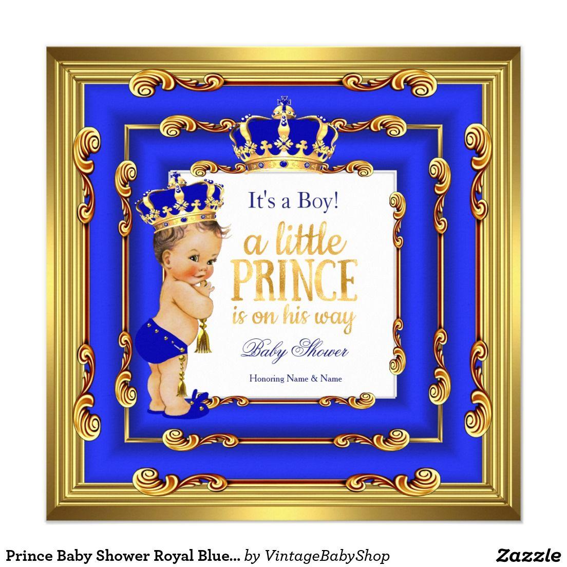 prince baby shower royal blue gold frame brunette card