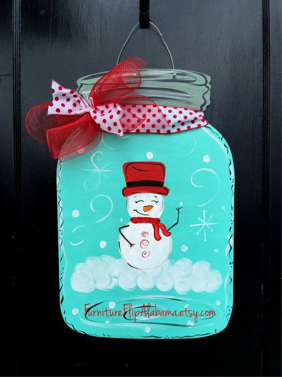 Photo of Snow globe mason jar door hanger,christmas door hanger,Winter wreath,Christmas wreath,winter door decor