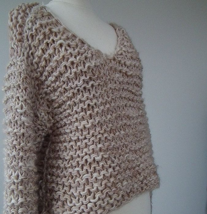 hand knit cropped wool sweater /thick loose jumper / chunky top ...