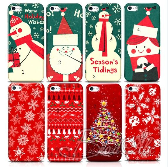 christmas tree santa claus xmas gift phone skin case back cover for iphone 4 4s 5