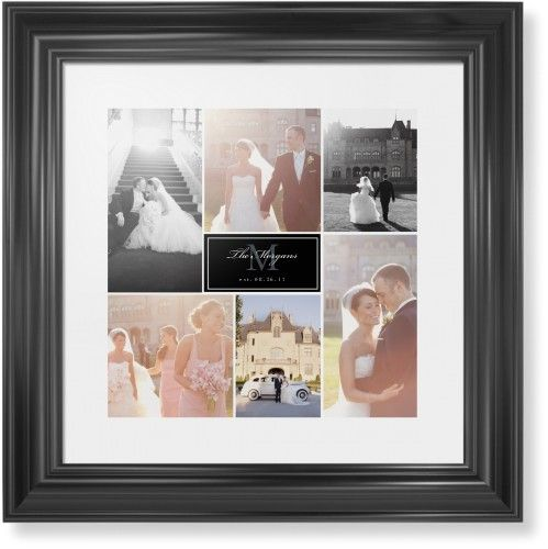 Monogram Match Framed Print, Black, Classic, None, White, Single piece, 12 x 12 inches, Black