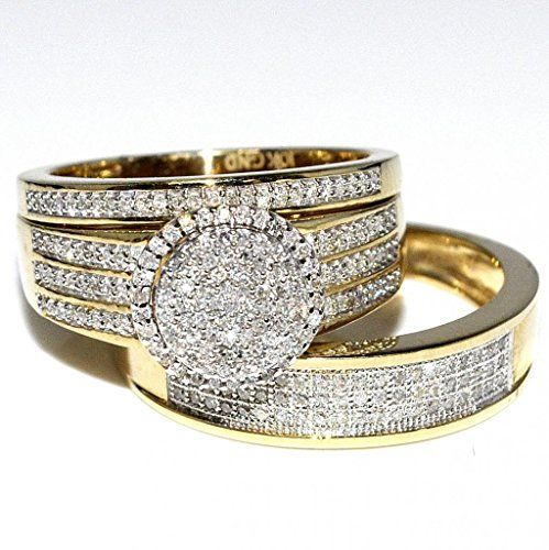 His And Her Bridal Rings Set Trio 0 73ct 10k Yellow Gold Halo