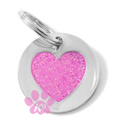 Valentine Gift   Dog ID Tag by K9 - Glitter Heart Small