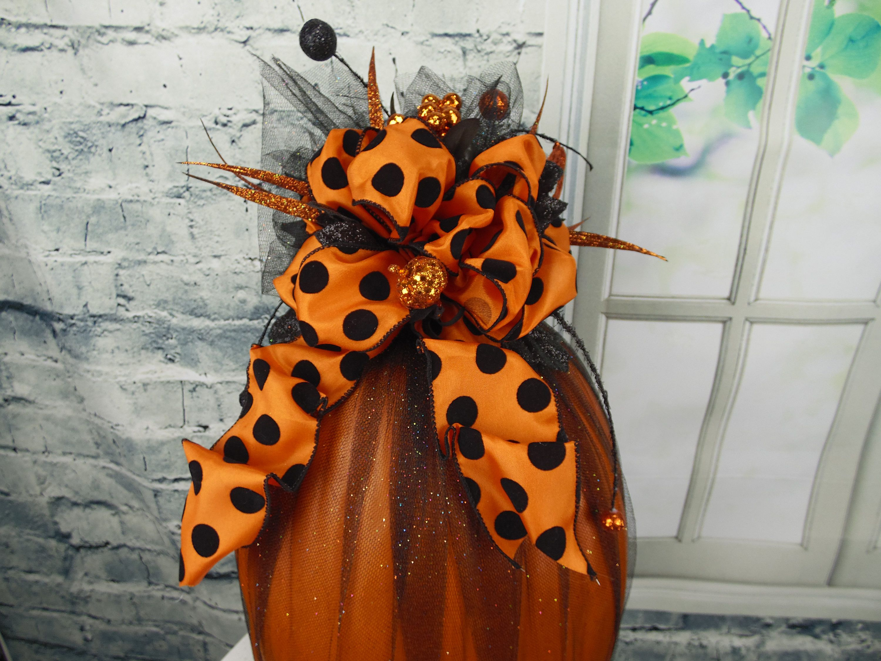 Tulle Pumpkin Decor, Whimsical Pumpkin Decor, Fabric Pumpkin - Whimsical Halloween Decorations