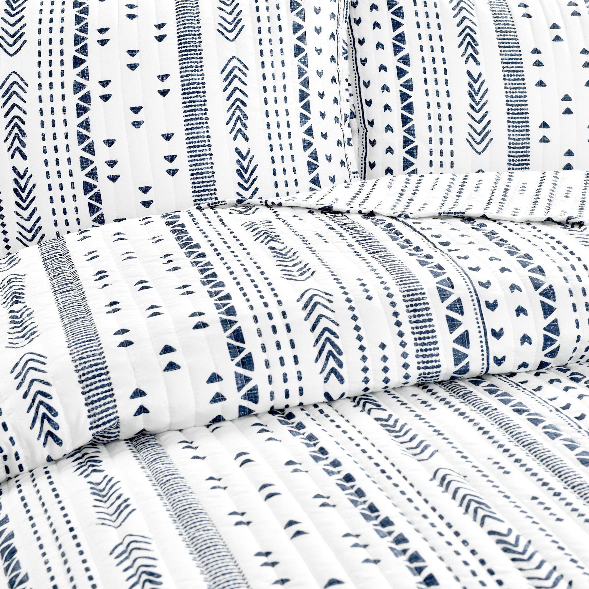 Hygge Stripe Quilt Navy/White 3Pc Set King