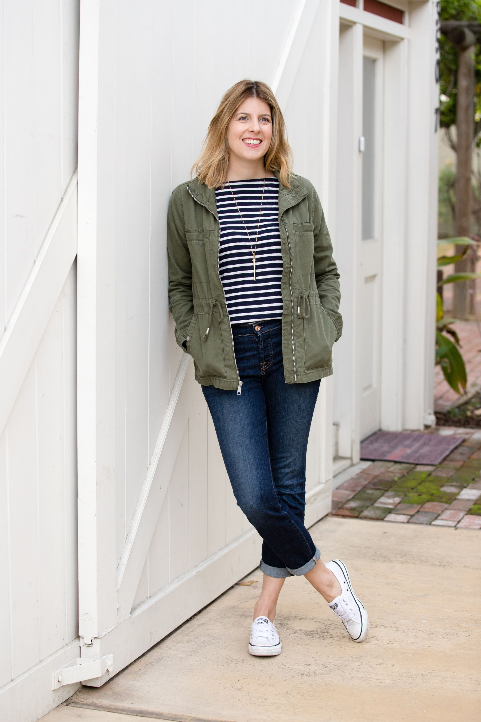 379636e8c697c2 I love how this Old Navy field jacket pairs with boyfriend jeans and a  striped t shirt. - Abby Savvy