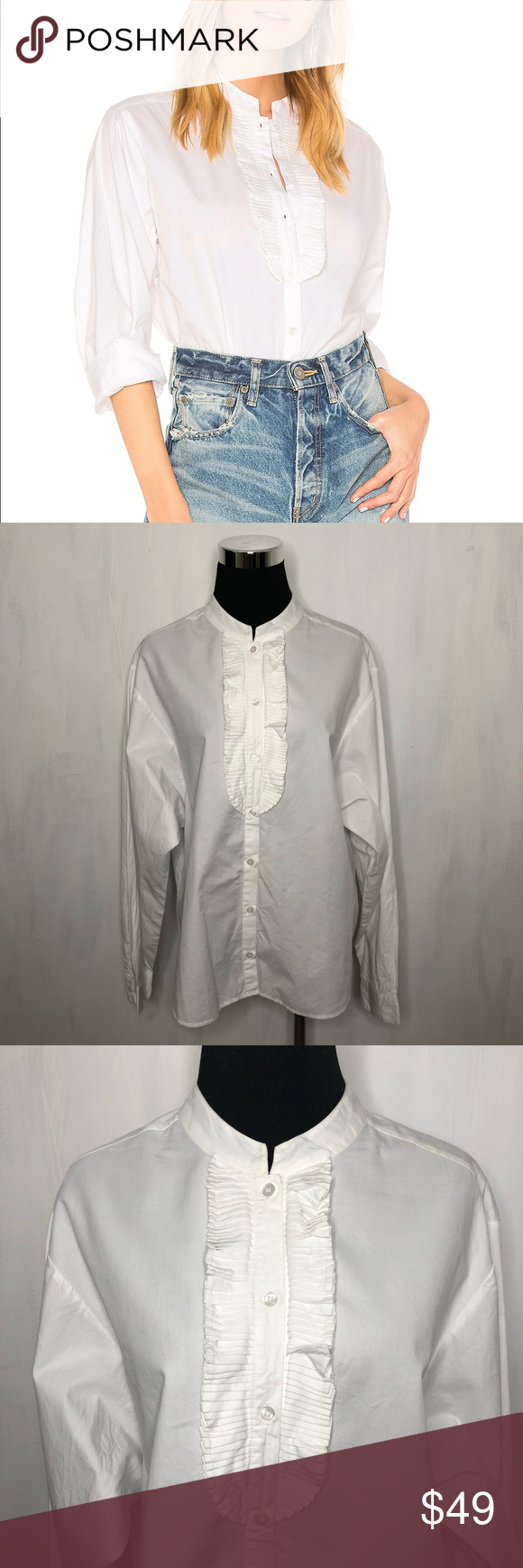 """Mes Demoiselles Mozart Cotton White Blouse 42 Mes Demoiselles Mozart Cotton White Blouse 42. Condition: excellent preloved with no signs of wear. Color: crisp stark white. Size: 42 is equal to a US 10. Measurements are approximate; taken while garment is lying flat:  22"""" across chest, 25"""" total length, 24"""" sleeve length after seam. Additional features: frilled bib, button down style, dolman sleeves. Inventory #0383 Mes Demoiselles Tops Button Down Shirts"""