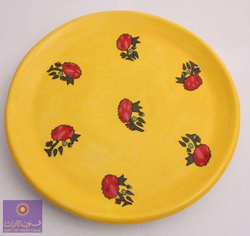صحن مصنوع من الفخار مستوحى من قماش الشالكي يدوي فخار فنون التراث الرياض جده Pottery Tableware Plates