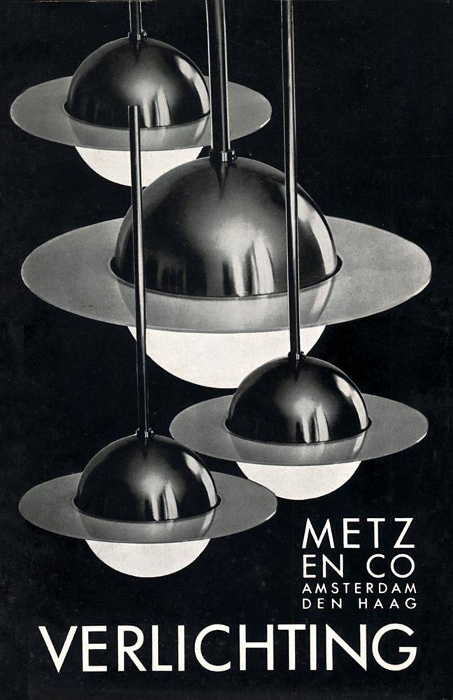 Omslag catalogus Metz & Co Verlichting, ca. 1934. Afgebeeld is de ...