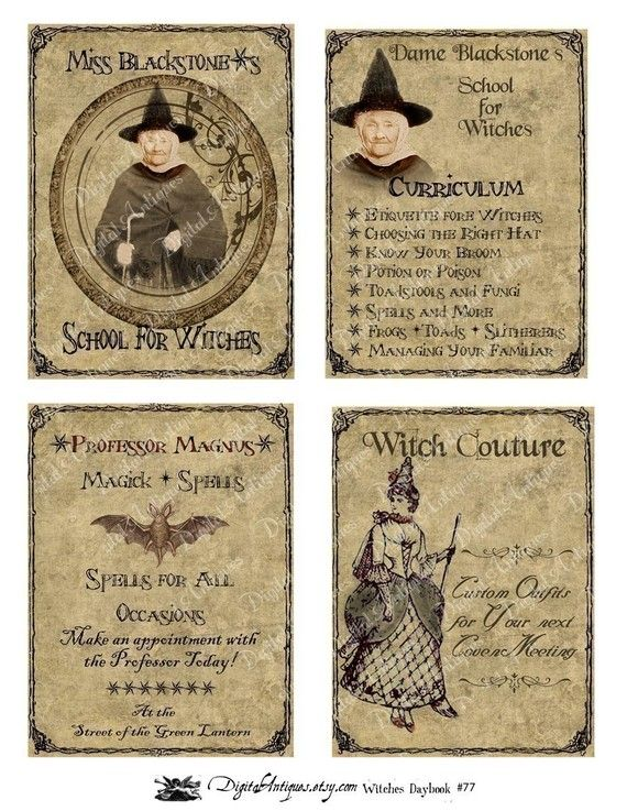 photograph regarding Vintage Halloween Printable known as Typical Halloween Witchs Daybook Printable Electronic Obtain